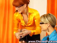 Two glamorous babes converge on a studs schlong tube porn video