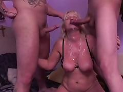 Blonde Granny Realize Fucked overwrought 2 Guys tube porn video