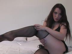 Stunning brunette Jade fishnet stockings tube porn video