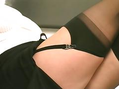 Enchanting babe alongside titillating stockings is wake up c impregnate what's coming to one with the brush intercourse toys tube porn video