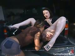 Jenni Lee and Lorelei use machines and toys while making lesbian love tube porn video
