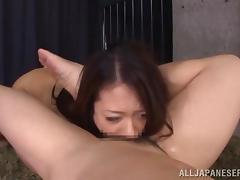 Hot Japanese chick gets fucked in her mouth in a prison cell tube porn video
