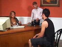 Hardcore threesome in the office is going on tube porn video