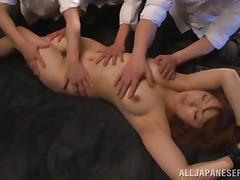 Oiled up Asian girl gets fucked in hard in a prison cell tube porn video