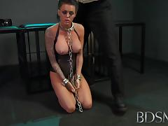 Young sub gets so wet when chained up and dominated by her Master tube porn video