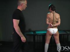 Bondage Master brings his cute asian sub girl to a long intense orgasm tube porn video