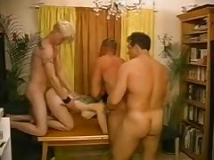Horny mature lady is naked with three bisexuals tube porn video