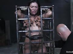 Claire Dames gets her cunt fingered to orgasm in BDSM scene tube porn video
