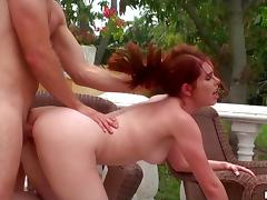 Redhead Melody Jordan gets pounded and facialed outdoors tube porn video