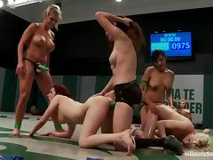Four lesbians tussle on tatami and share two strapons tube porn video