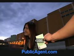 Smoking hot brunette gets some money for blowjob and doggy style tube porn video