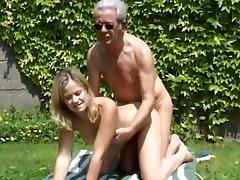 Luigina is fucking with gray old man Hans in doggy style tube porn video