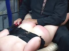 Short haired slave gets bound and sat on floor tube porn video