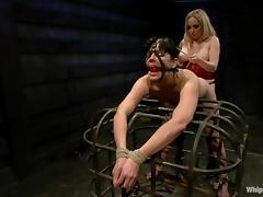 Aiden Starr restrains Bobbi Starr before fucking her with a strapon tube porn video