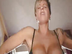 Busty amateur fucks a huge cola bottle and fisted tube porn video