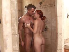 Redhead beauty Dani Jensen is sucking a dick tube porn video