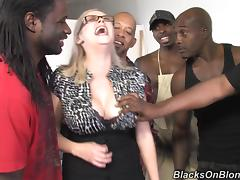 Curvy MILF Katie Kox gets gangbanged by Black guys tube porn video