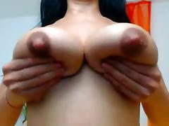Natural lactating pair with great pink nips on this Milf tube porn video
