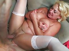 Blond MILF white stockings cunt fuck tube porn video