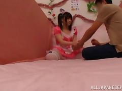 Glorious Japanese AV model is a maid in pink costume gets drilled tube porn video