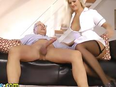Teen nurse sucks and fucks an old guy tube porn video