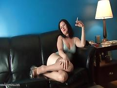 Stockings and lingerie are hot on smoking girl tube porn video
