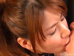 Nanami Sakura nasty Asian babe in bondage costume rides cock tube porn video