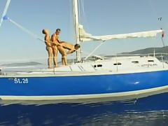 Three hot dudes fuck on the boat tube porn video