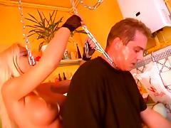 Horny bitches enjoy rough threesome with fat guy in the kitchen tube porn video
