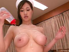 Beautiful Sayuki Kanno oils her tits up and gets nailed in a hospital tube porn video