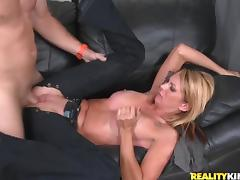 Scrumptious Blonde Goes Hardcore With A Hot Guy Over A Couch tube porn video