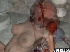3D redhead rides zombie cock tube porn video