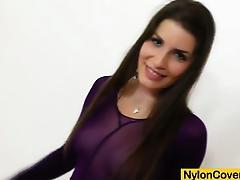 Brunette covered in nylons masturbates tube porn video