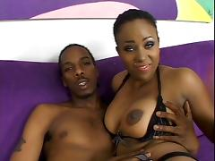 Sexy black nymph with nice tits rides a huge black monster cock on couch tube porn video