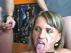 Sexy blonde is sucking dicm in the store tube porn video