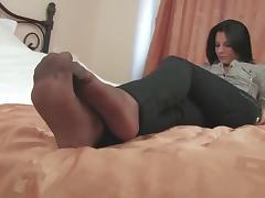 Black pantyhose girl playing smart phone tube porn video