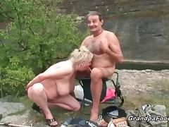 Slutty blonde gets seduced by horny mature couple tube porn video