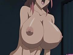 Busty hentai babe tittyfucks and rides cock tube porn video