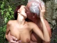 Old & young fuck in the woods tube porn video