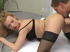 Blonde milf inside Erotic cocoa Stockings has thang inside Doggystyle tube porn video