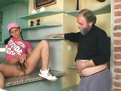 Young brunette fucks with an old dick tube porn video