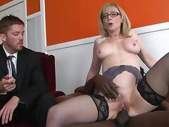 Mature Nina Hartley and black Nathan Threa tube porn video