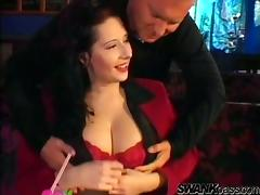 Big breasted MILFs get fucked rough tight in a bar tube porn video