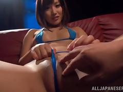 Miku Sunohara fingers her shaved pussy and gives a hot blowjob tube porn video