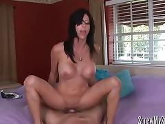 Stepmom gives a silky holiday  blowjob tube porn video