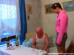 Stunning brunette bitch has hot sex with cocky old fart tube porn video