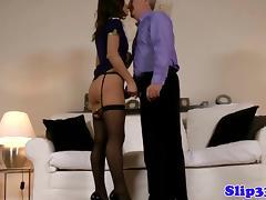 Classy brittish babe rides old man tube porn video