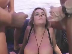 Blonde Huge Boobs Granny in Anal Threesome tube porn video