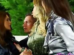 Wam Glam babes suck a cock outdoors tube porn video