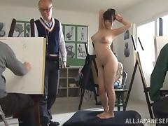 Curvy Japanese girl shows her awesome body for the cam tube porn video